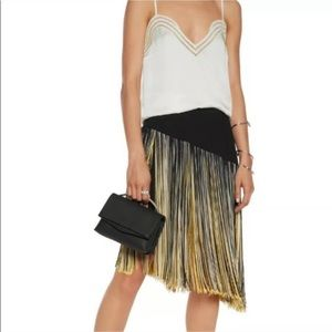 CRISTOPHER KANE fringe skirt yellow black midi